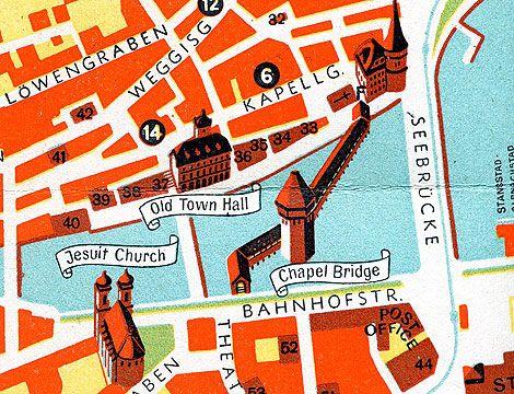 Map of Lucerne Switzerland Lucerne Switzerland and Design