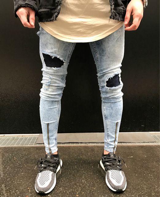 2017 Hommes Genou Dechire Jeans Hommes Hip Hop Zipper Biker Jeans