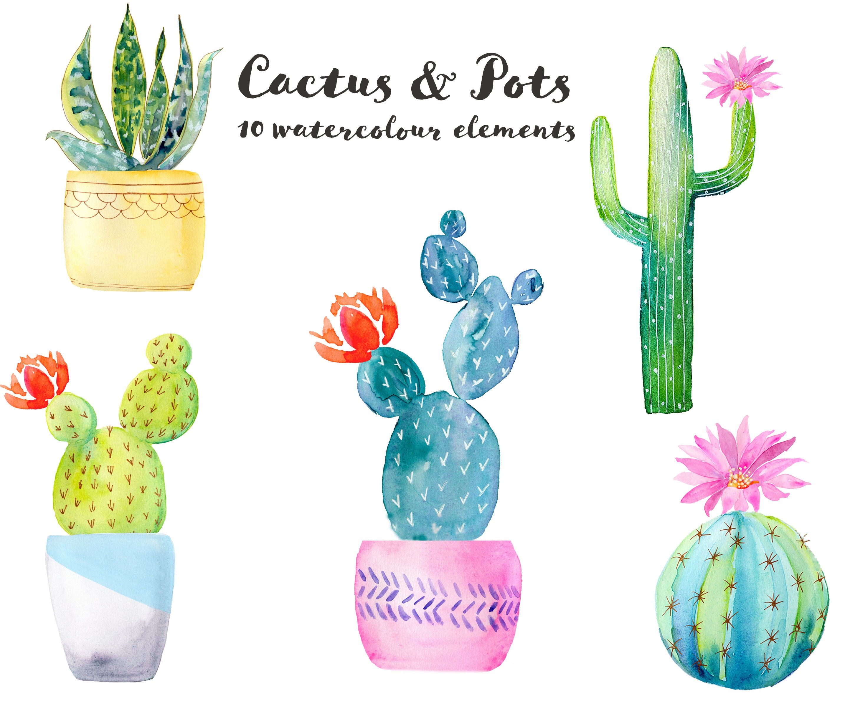 Cactus And Pots Watercolor Clipart Set Of 10 Elements Southwest