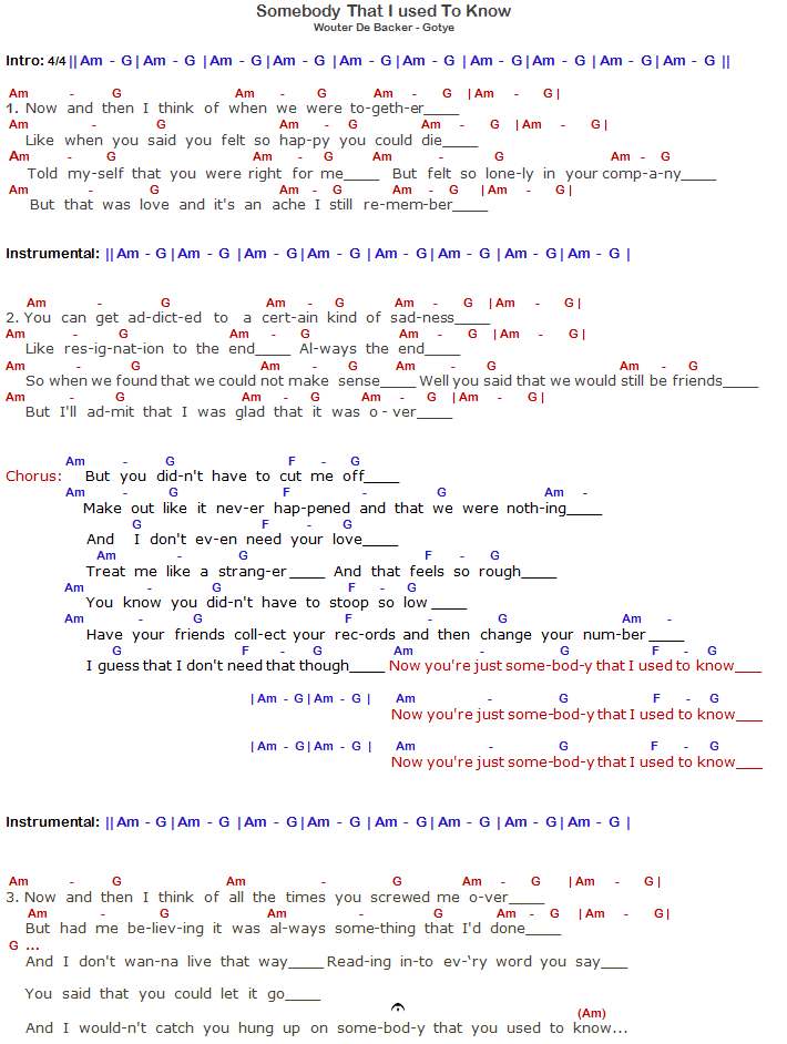 Gotye Somebody That I Used To Know Chords & Lyrics - Part 1 ...