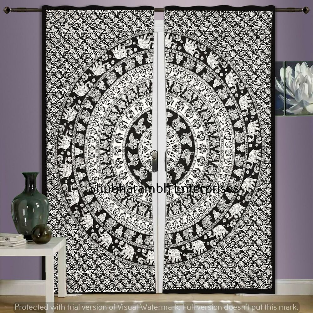 Black White Indian Cotton Curtains Mandala Throw Wall Hanging Door Handmade Traditional