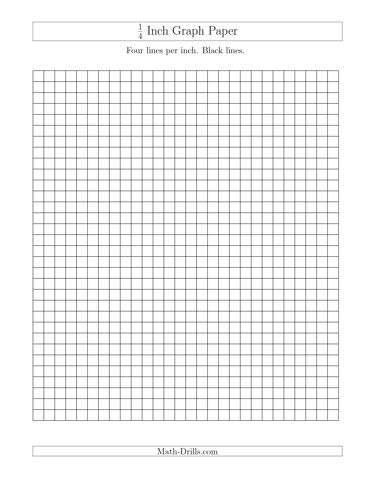 The 1 4 Inch Graph Paper With Black Lines A Math