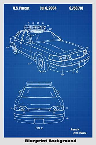 Police Car Patent Print Art Poster Patent Prints Poster Art Police Cars