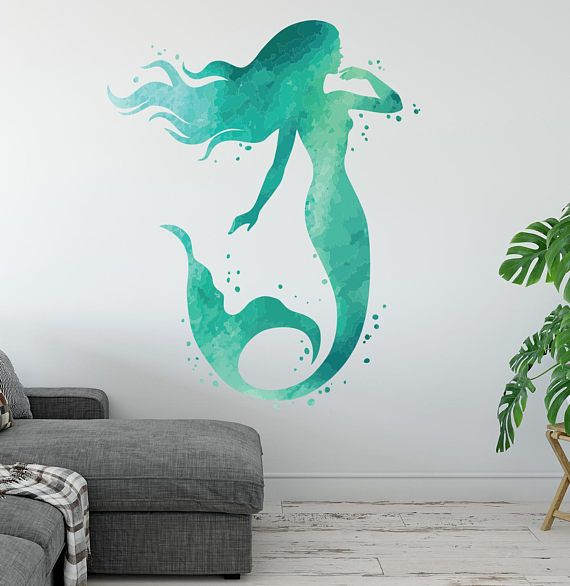 Lovely Mermaid Wall Decal Ocean Mermaid Wall Art Watercolors