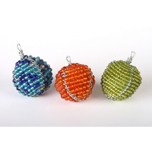 Gorgeous Wire And Bead Bauble Christmas Tree Decorations