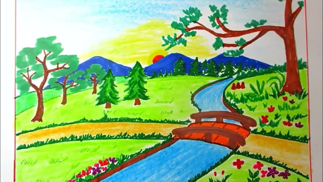 Drawing Landscape Of Mountain And River For Kids Scenery Drawing