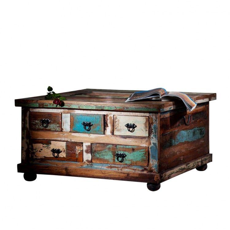 truhen couchtisch vintage recyclingholz bunt stylomat pinterest. Black Bedroom Furniture Sets. Home Design Ideas