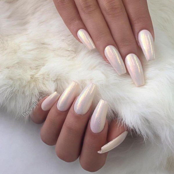 White Coffin Nails With Iridescent Shimmer Sparkle Sparkle Nails White Coffin Nails Pearl Nails