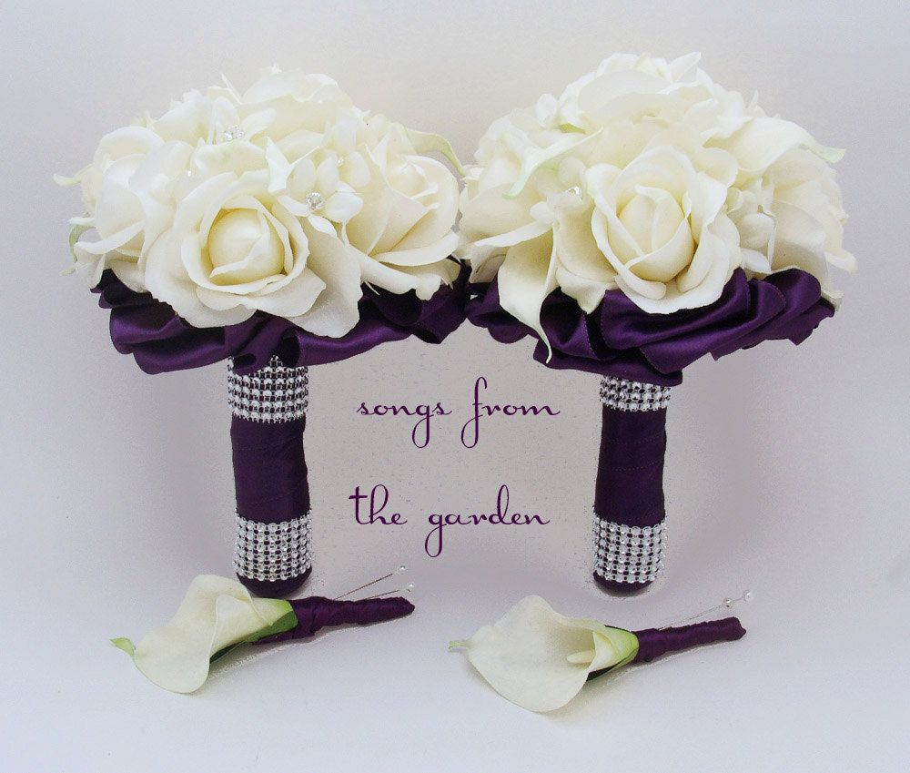 Real Touch Rose And Calla Bridesmaid Bouquets Groomsman Boutonnieres
