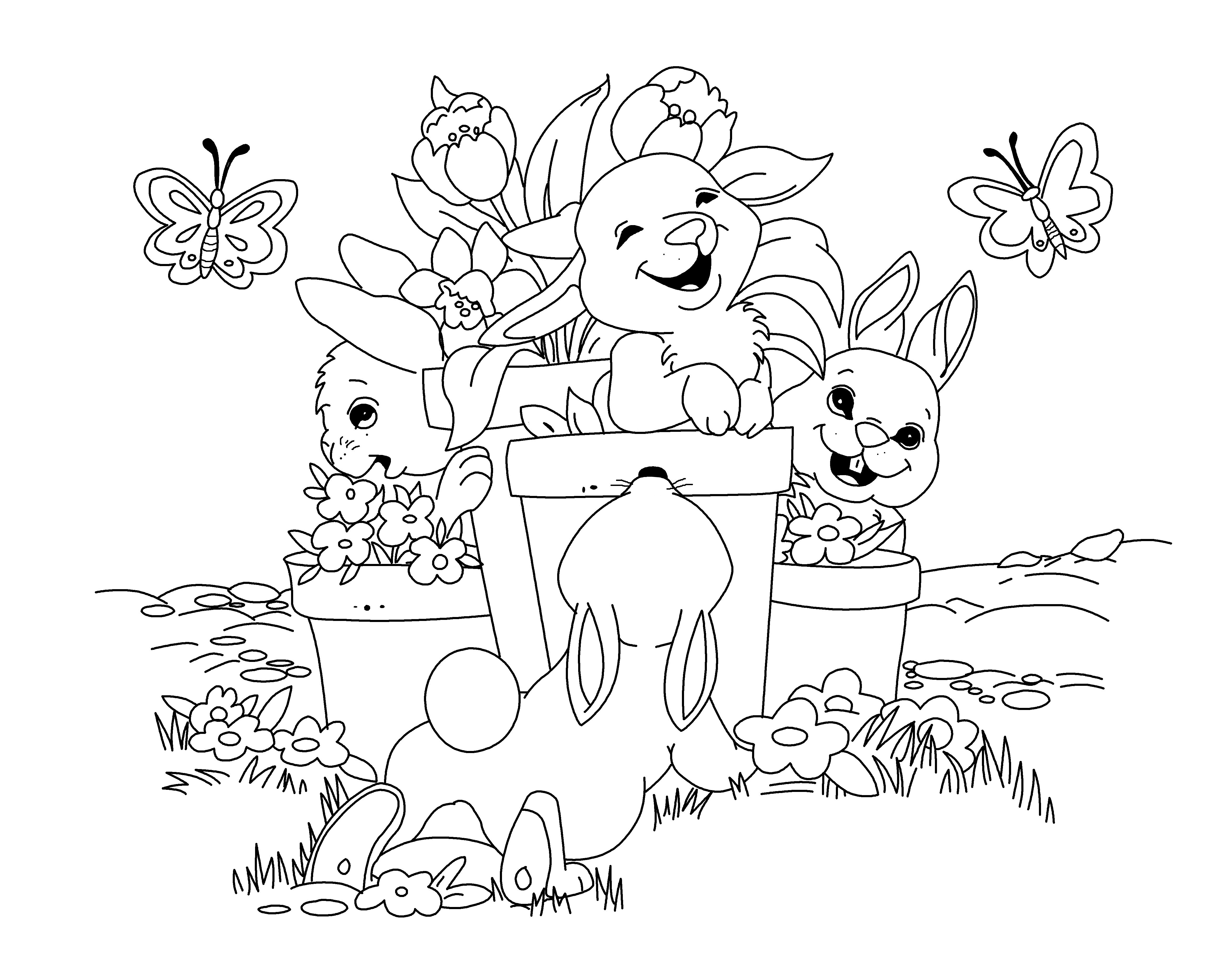 Pot Bunnies By Cristacat93maw Deviantart Com Spring Coloring Pages Animal Coloring Pages Easter Coloring Pages