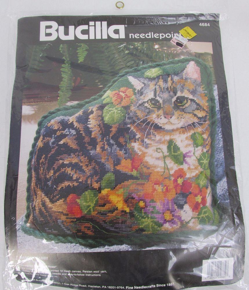 Garden tabby vtg bucilla cat shaped floral nancy rossi