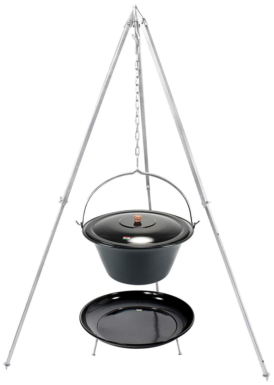 Ungarischer Kesselgulasch Topf Set Mit Dreibein Gestell Und Feuerstelle Teleskopgestell 160 Cm Massiv Kesselgulasch Gulaschkessel Kessel
