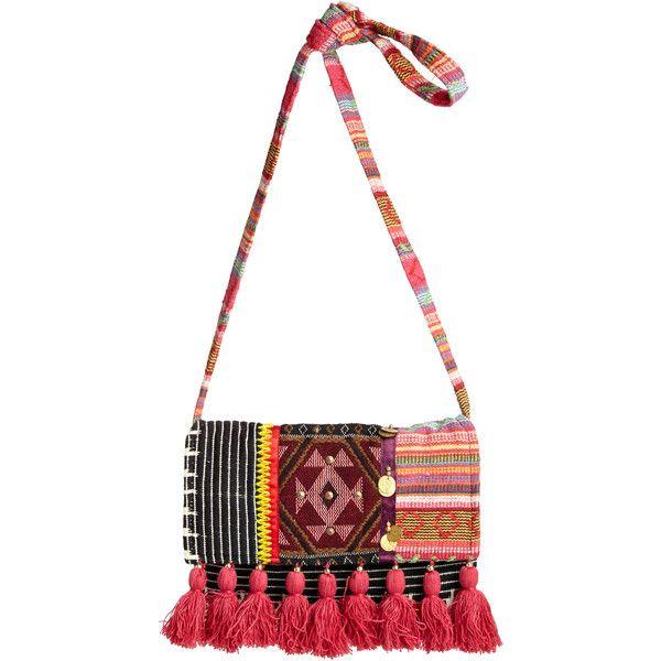 STELA 9 Vishnu Cotton Crossbody ($95) ❤ liked on Polyvore featuring bags, handbags, shoulder bags, pinkmult, white shoulder bag, white crossbody, tribal shoulder bag, pocket coin purse and white cross body purse