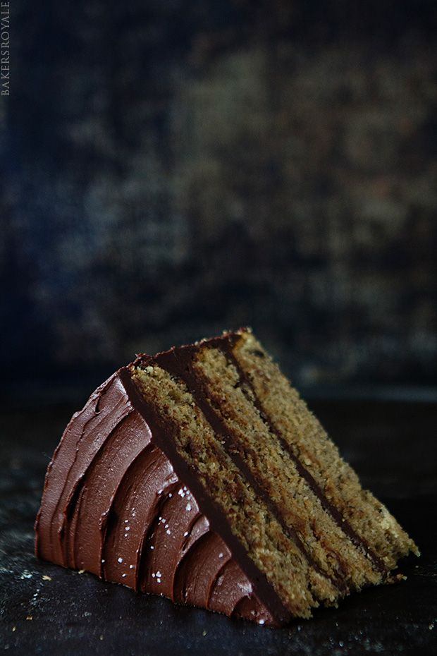 Browned Butter-Banana Cake with Salted Dark Chocolate Ganache via Bakers Royale