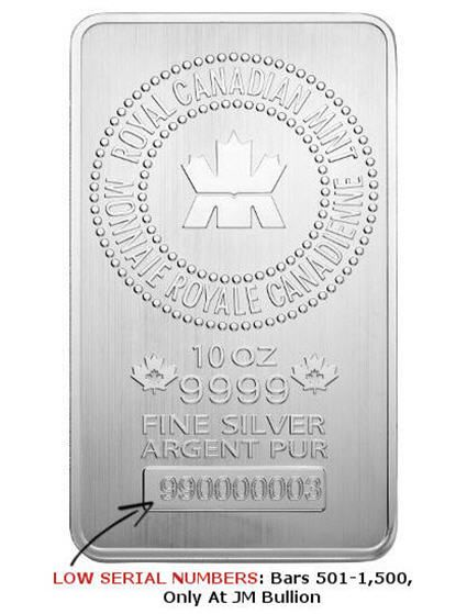 Royal Canadian Mint 10 Oz 9999 Silver Bars Low Serial Numbers And Best Price From Jm Bullion Http Buyandstoregold C Buy Gold And Silver Silver Bars Silver