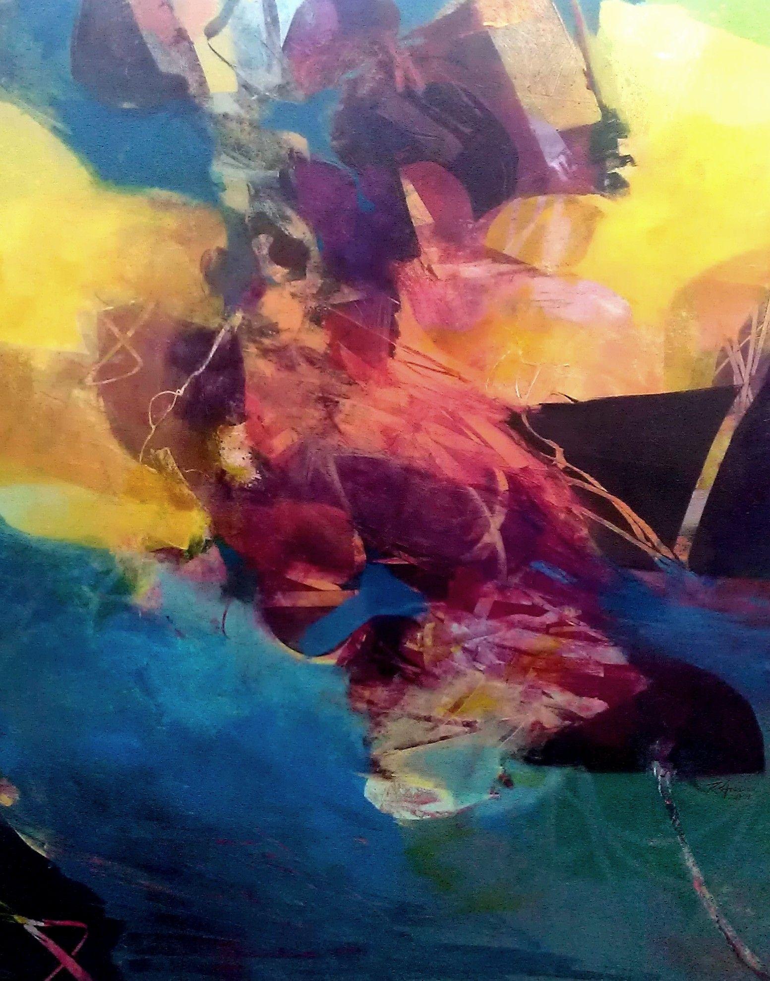 """POOL EDGE"" by Ron Gordon, acrylic on panel."