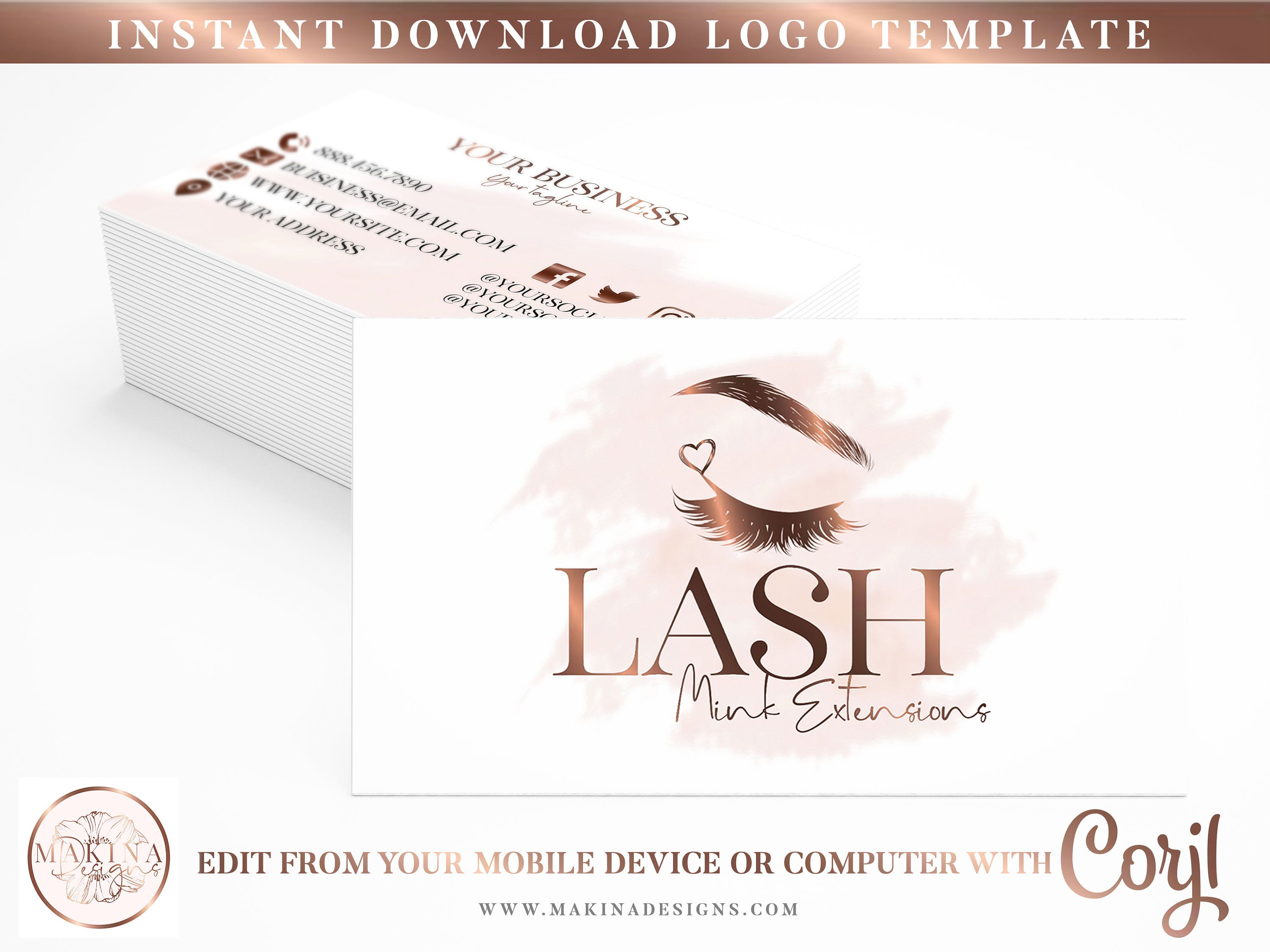 Business Card Template Business Card Card Design Logo Etsy Business Card Template Card Design Business Cards