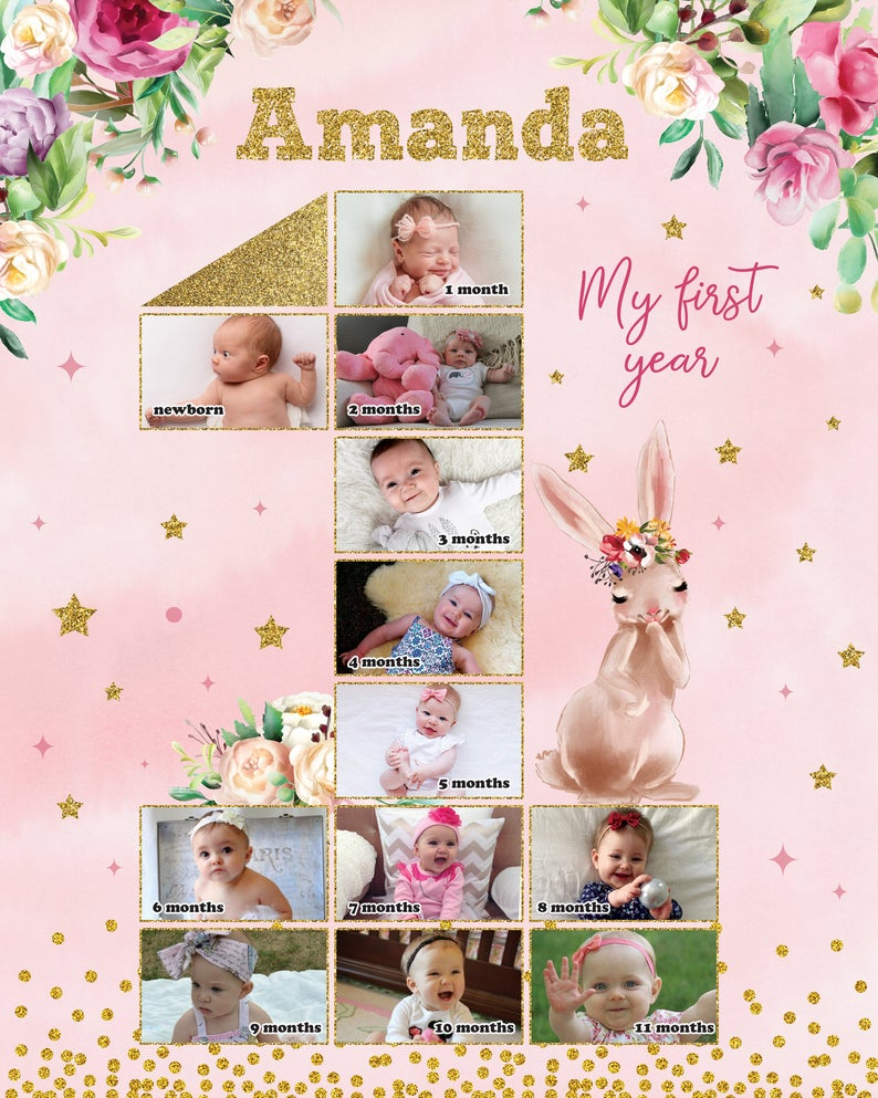12 Month Photo Collage : month, photo, collage, Bunny, First, Months, Collage,, Birthday, Photo, Poster,, Board,, Baby's, Backdrop, Vozeli.com