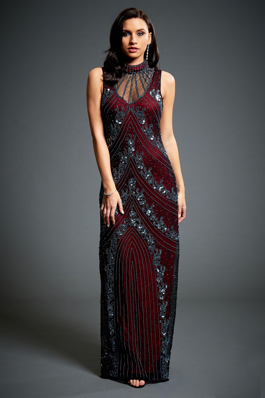 Vivian Vine Red 20s Great Gatsby Beaded Dress, Downton Abbey Bridal ...