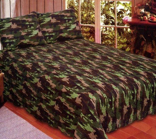 Full / Queen Camouflage Quilt w/ Pillow Shams- Army Green Camo ... : camo quilt bedding - Adamdwight.com
