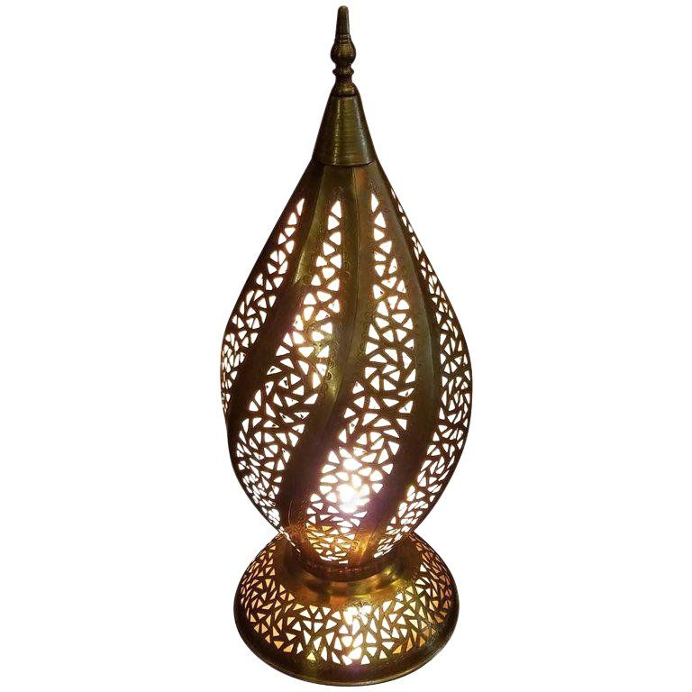 Moroccan Spiral Shape Copper Table Lamp In 2020 Copper Table