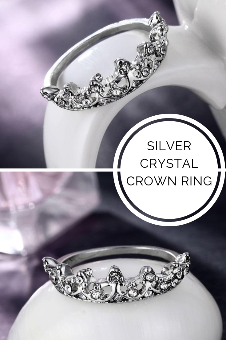 Starling Silver Name Stone Rings Crystal crown, Crown