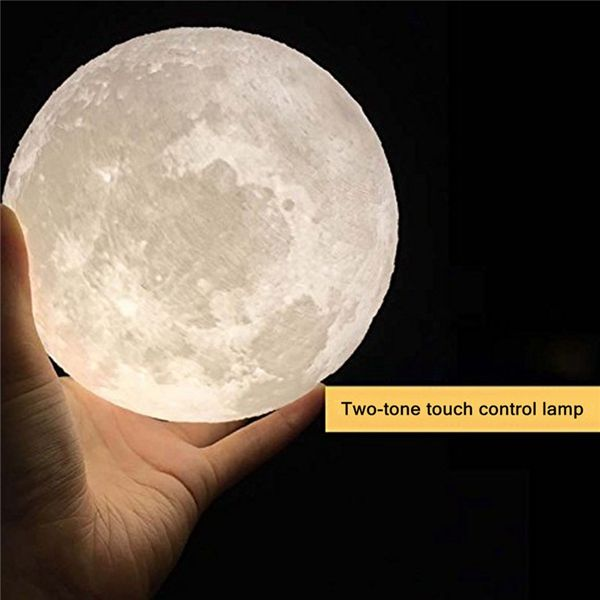 10cm 3d Magical Two Tone Moon Lamp Usb Charging Luna Led Night Light Touch Sensor Gift Is Multicolor Newchi Led Night Light Night Light Kids Color Changing Led