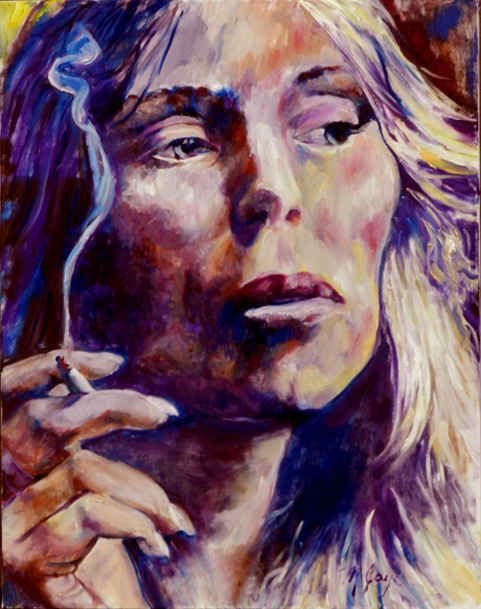 Self-portrait painting by Joni Mitchell, moody and holding a lit cigarette. /NSc