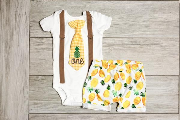 22d21f221ffc Party Like a Pineapple 1st Birthday Outfit for boys summer birthday