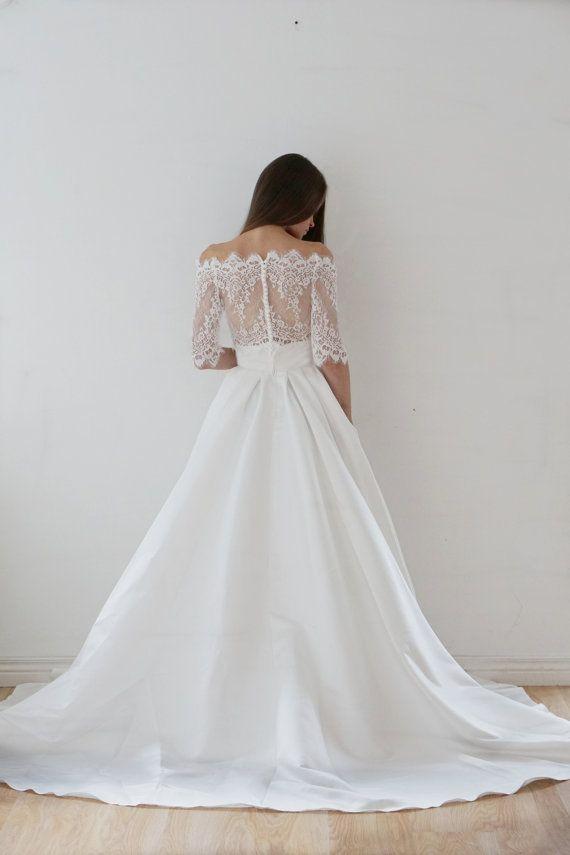 Crop Top Wedding Dress Satin By Myhoneymoondress