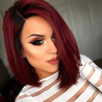 Natural Dark Red Gradient Ombre Short Hair Wigs 12 Women S Fashion