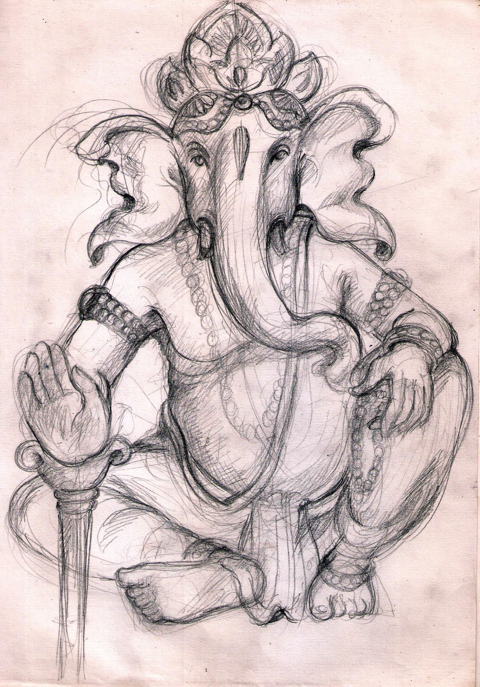 Pencil sketch ganesha
