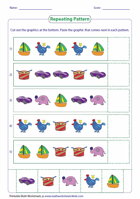 Pattern Worksheets Contain Identifying Next Picture, Color, Size And Shape;  Increasing And Decreasing Number Pattern, Writing Pattern Rule And More.