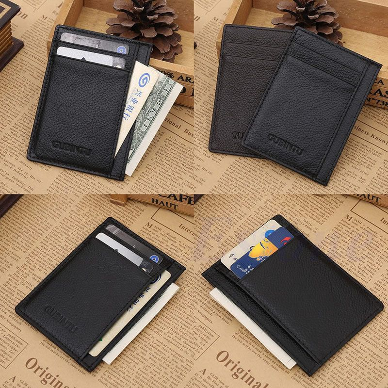 Genuine Men/'s Leather Wallet Bifold ID Credit Card Holder Mini Purse Money Clip