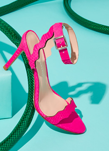 bright pink ankle strap sandals