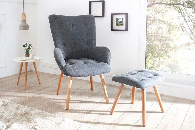 Design Sessel Scandinavia Grau Inkl Hocker Retro Look In 2020 Wohnzimmer Sessel Moderne Sessel Und Retro Wohnzimmer