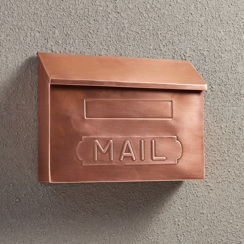Horizontal Mail Wall Mount Copper Mailbox Antique Copper Copper Mailbox Wall Mount Mailbox Mounted Mailbox