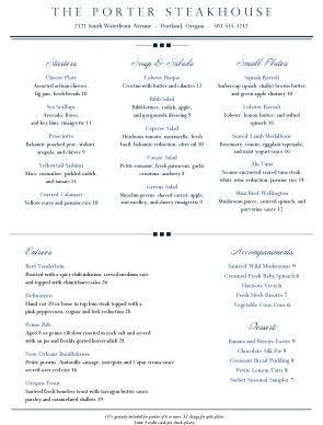 Customize Downtown Dining Menu Dining Menu Fine Dining Menu