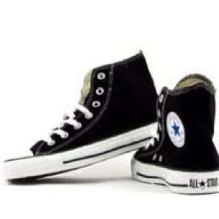 Black Converse High Top. but with a green heel strip laces
