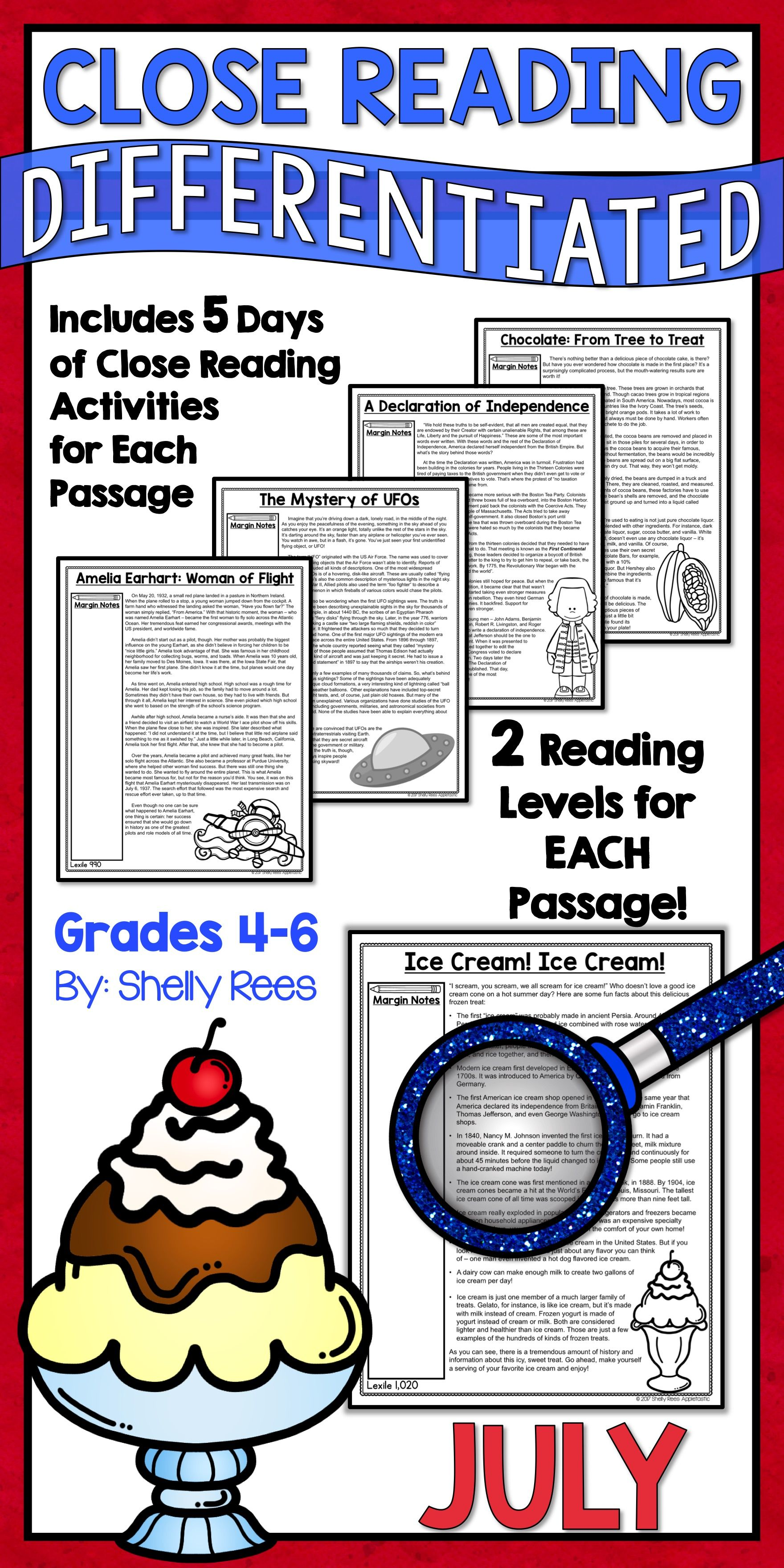 Close Reading Passages And Activities For The Month Of July Are Fun And Interesting For 3rd 4th 5th 6t Close Reading Reading Passages Close Reading Passages [ 3520 x 1760 Pixel ]