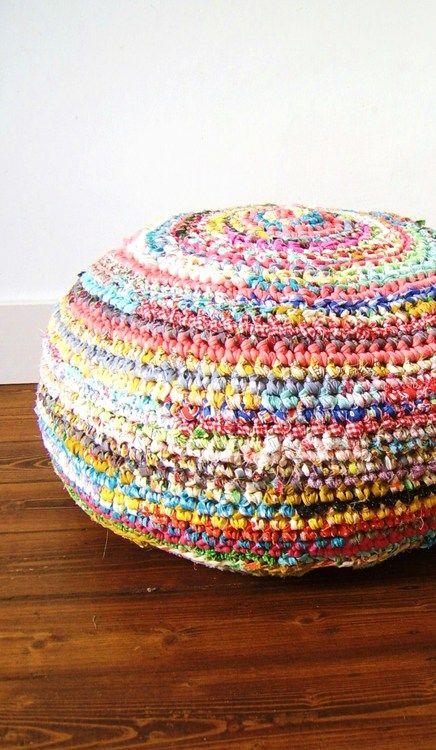 Crochet With Fabric Strips Instead Of Wool It Will Hold It S Shape Better Crochet Pouf Crochet Cushions Crochet Fabric