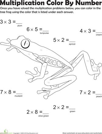 multiplication color by number tree frog 5 kindergarten multiplication math worksheets. Black Bedroom Furniture Sets. Home Design Ideas