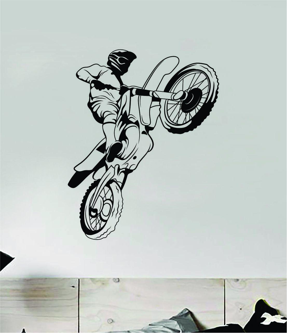 Dirtbiker v11 Wall Decal Sticker Bedroom Room Vinyl Art Home Decor Teen Boy Girl Sports Moto X Auto Rider Biker Race Dirt Brap Racing Dirtbike - orange