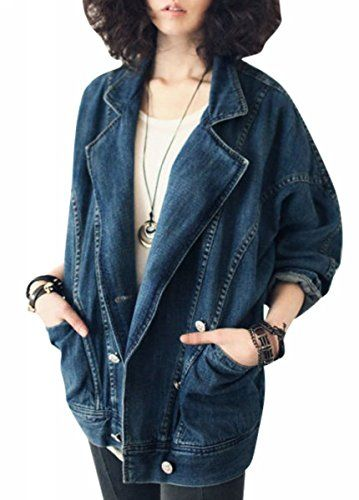 Uget Women's Boyfriend style long sleeves denim jacket-Blue-US 6-8 / Tags XL Uget® http://www.amazon.com/dp/B00WHW7N6S/ref=cm_sw_r_pi_dp_8HdJwb1A89NV7