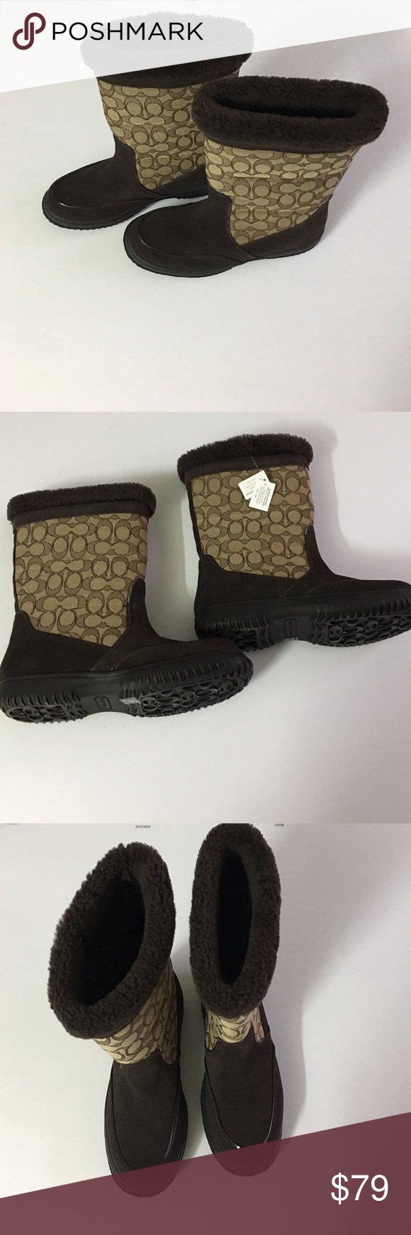 """Coach brown boots new size 8 Brand new never used before size 8 Signature """"C"""" jacquard fabric/suede upper  Pull-on construction  Faux curly shearling  Lightly cushioned footbed  Synthetic rubber outsole coach  Shoes Winter & Rain Boots"""