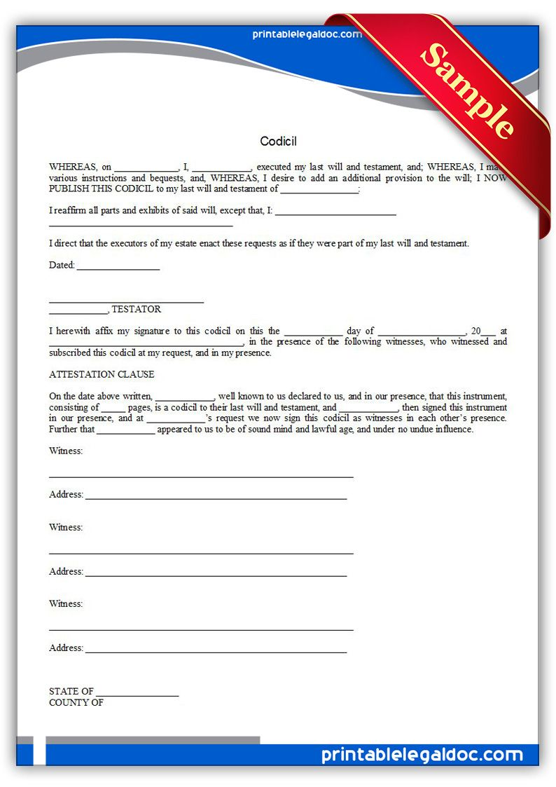 Free Printable Codicil | Sample Printable Legal Forms | Legal forms ...