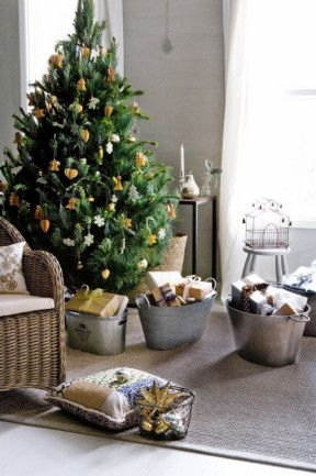 Organise gifts for each member of the family in galvanised tubs. Liking the simplistic nature theme.  you know if your a super control freak and cant stand the idea of gifts laying chaotically under a tree..