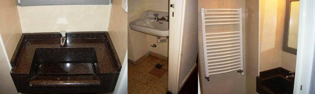 Mirá imágenes de diseños de Baños de estilo moderno en translation missing: ar.color.baños.marrón: Remodelación de baño en departamento I. Encontrá las mejores fotos para inspirarte y creá tu hogar perfecto.