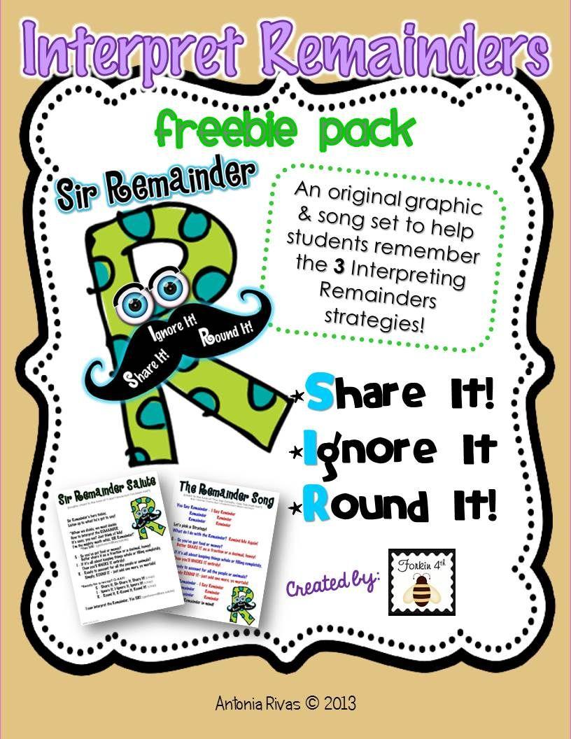 Forkin4th Meet Sir Remainder Division Freebie Interpreting Remainders Math Division Fifth Grade Math