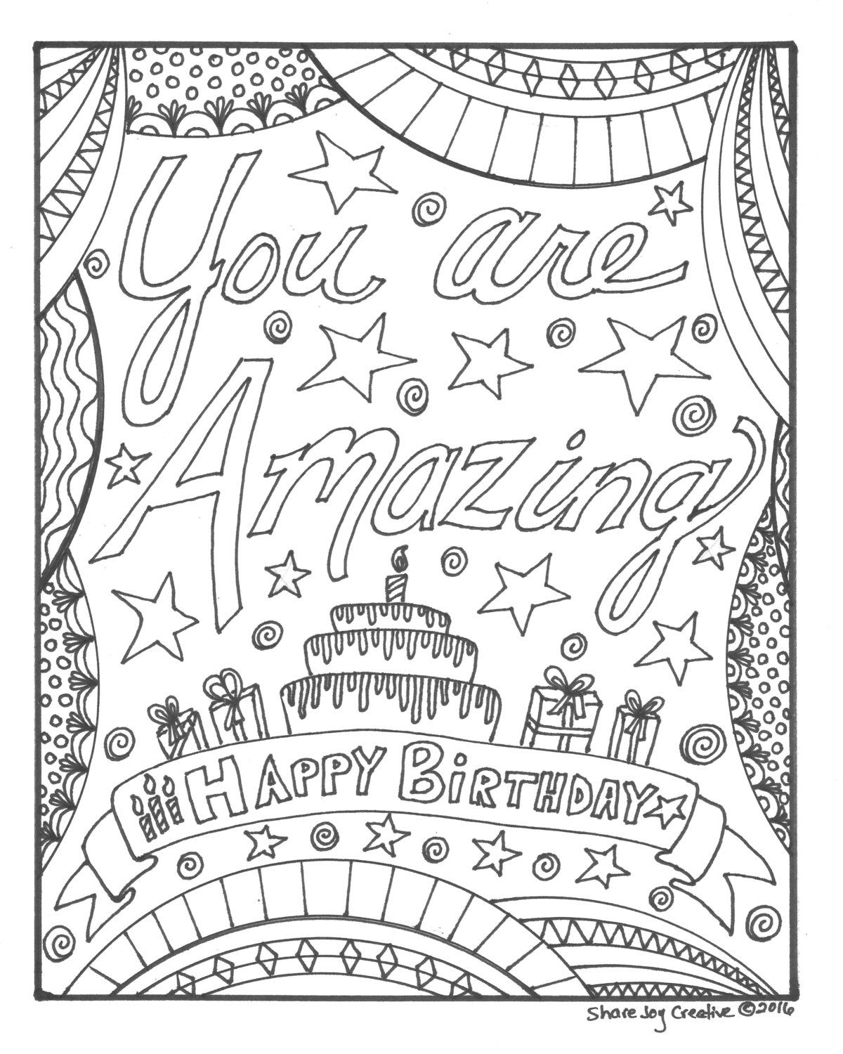 Happy Birthday Coloring Page You Are Amazing By Sharejoycreative